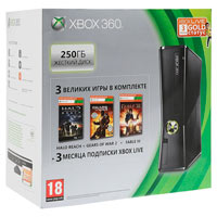 XBox 360 250G (Slim)+Gears of War 3+Halo:Reach+Fable3